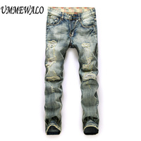 Men Brand Designer Vintage Repaired Distressed Jeans Men S Straight Slim Ripped Hole Denim Jeans Patchwork