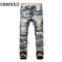 Men Brand Designer Vintage Repaired Distressed Jeans Men S Straight Slim Ripped Hole Denim Jeans Patchwork