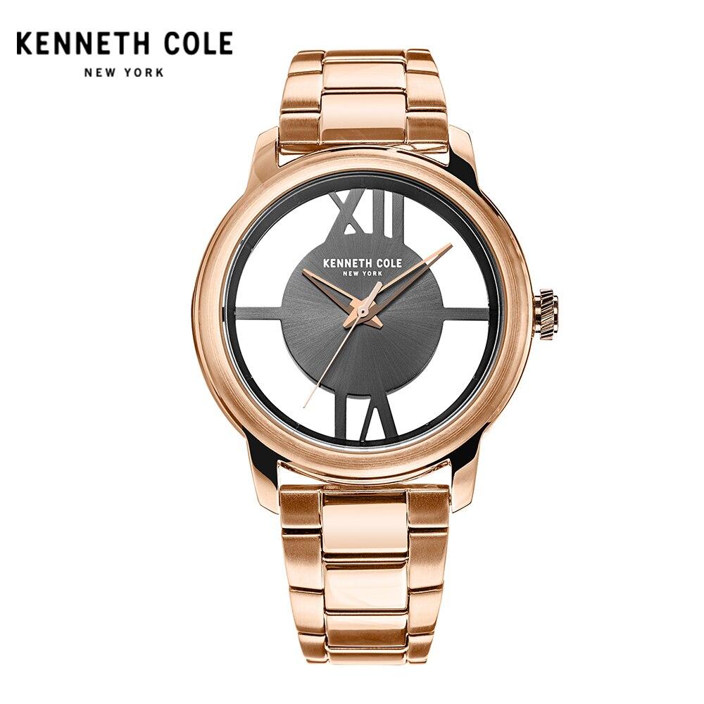 Kenneth Cole Womens Watches Gold Quartz See-through Stainless Steel Waterproof Luxury Brand Genuine Watches KC10024376 kenneth cole reaction womens napa zip around urban organizer wallet