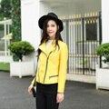 2016 Recién llegado de Diseñador de las mujeres de piel de Oveja chaqueta de cuero Genuino abrigo de Cuero de Moda amarillo/Verde 16203