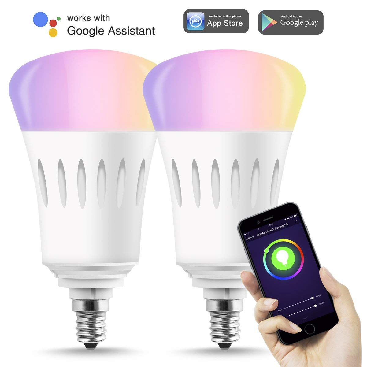 Smart Bulb LED E12 Wifi Lights 60W Multicolor RGB Dimmable ...