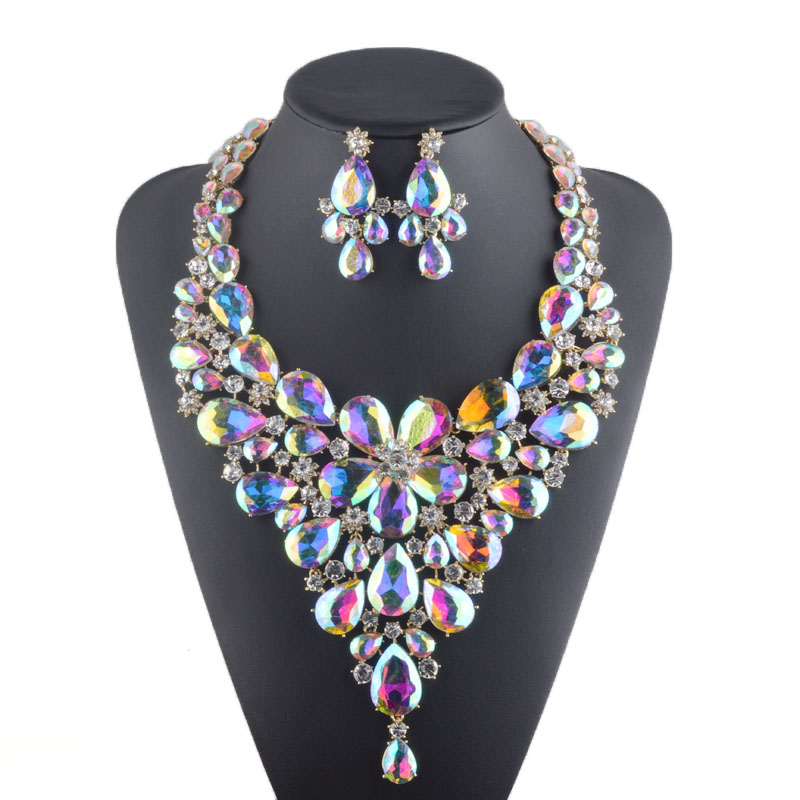 Luxury rhinestone bridal necklace earrings set crystal AB color aurora color Evening Party jewelry set drop water flower style нож строительный vira 831301 18мм