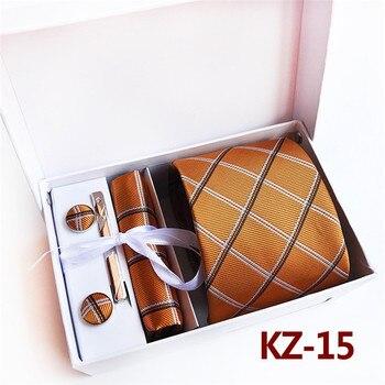 SCST Brand Novelty Mens Wedding Necktie Brown Slim Silk Ties For Mens Necktie Handkerchief Tie Clips Cufflinks 4pcs Set A091