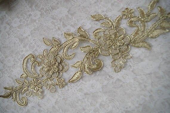 Cavo oro appliques del merletto golden floral applique del