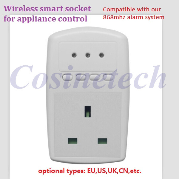 Wireless smart socket power control,appliance control switch compatible with home security 868MHZ X6 alarm system,EU,UK,US plug kerui wireless remote switch smart socket power eu us uk au plug standard for home security alarm system g19 g18 8218g 433mhz