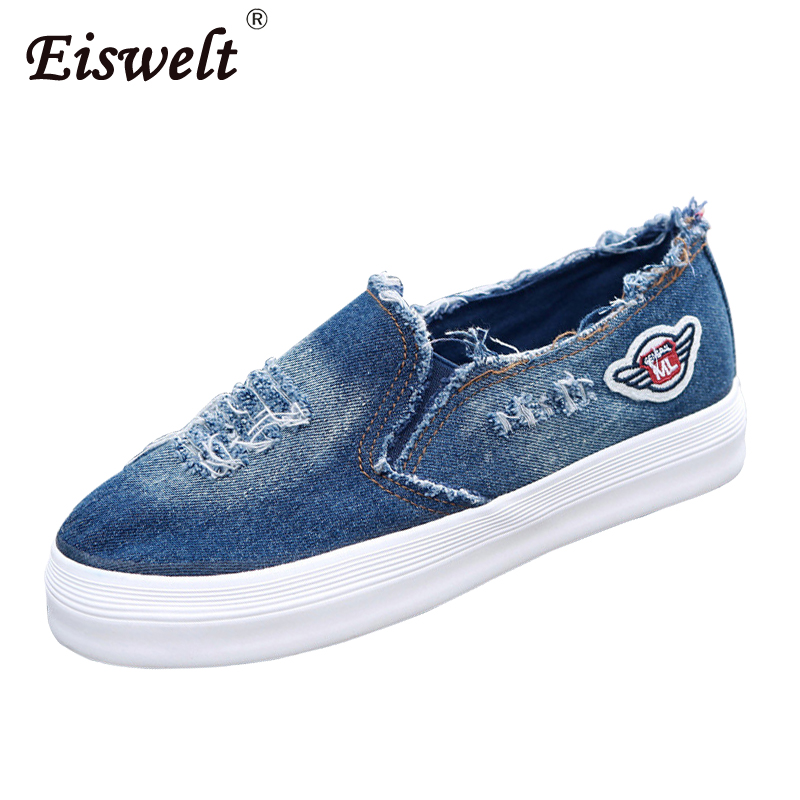 EISWELT Women Flats Summer Canvas Shoes Thick-soled Shoes Female Flats Shoes Cowboy Ladies Fashion Casual Shoes Women Flats eiswelt women flats shoes comfortable flat air mesh spring summer shoes female casual fashion slip on shoes for women flats