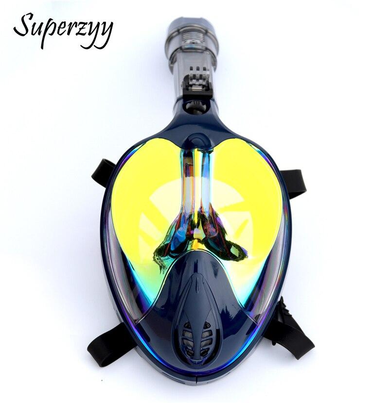 Alien professionnel masque de plongée sous-marine Anti-buée visage complet 180 degrés masque de plongée en apnée ensemble avec anneau anti-dérapant - 3