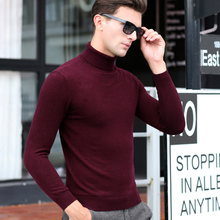 2016 Men long sleeves knitted turtleneck sweater 100% wool high neck winter sweater for men