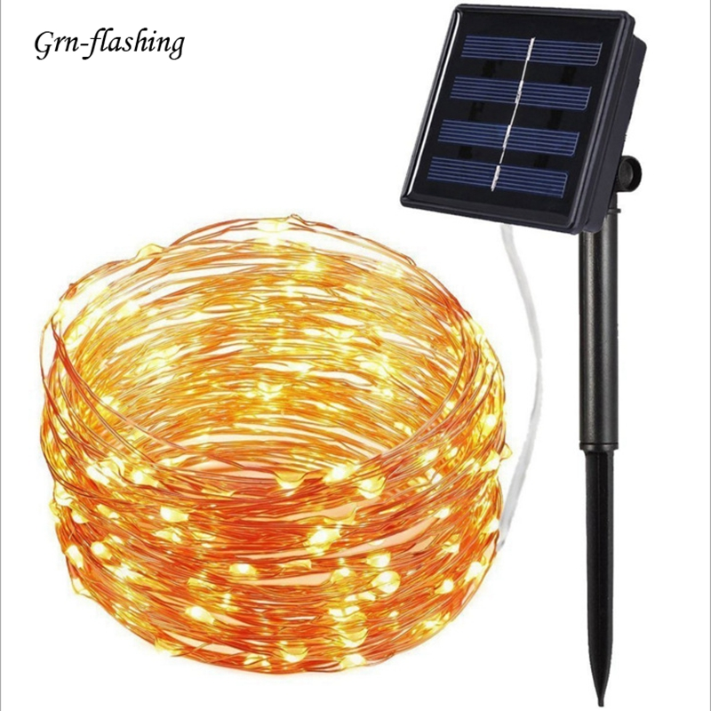 8 modes 10m 20m LED Solar garden String Light silver Copper wire Fairy Solar Powered for Christmas party outdoor decor lighting|Solar Lamps| |  - title=