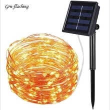 8 modes 10m 20m LED Solar garden String Light silver Copper wire Fairy Powered for Christmas party outdoor decor lighting