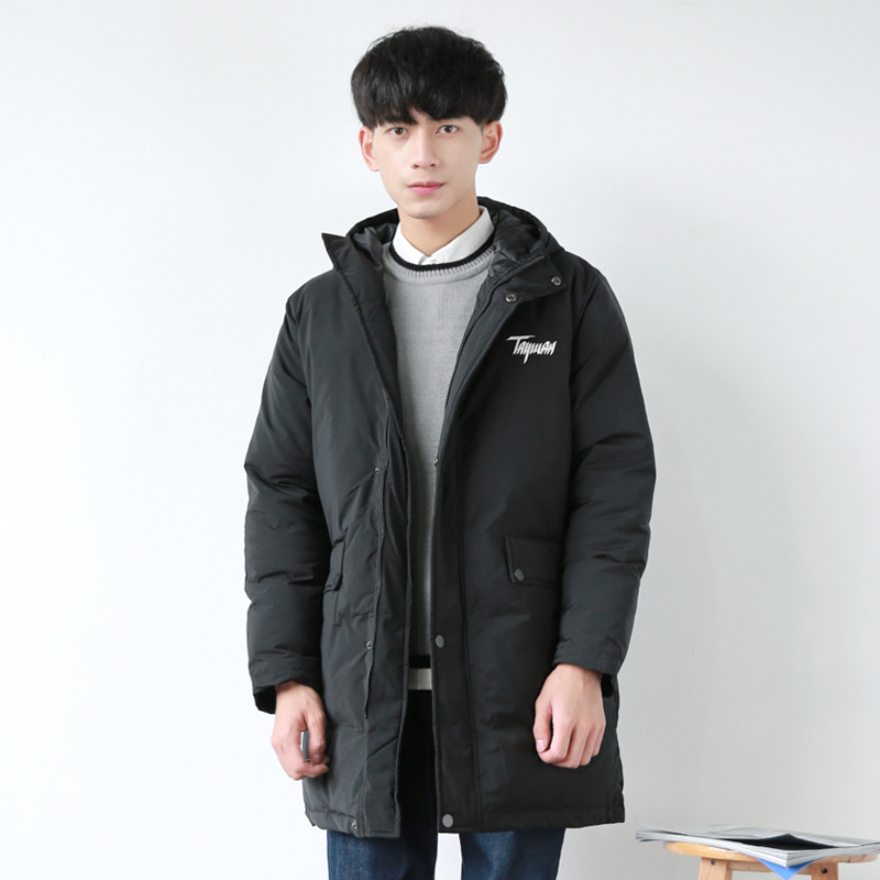 The winter long black Mianfu Mens Monogrammed Lapel thickening loose warm coat jacket