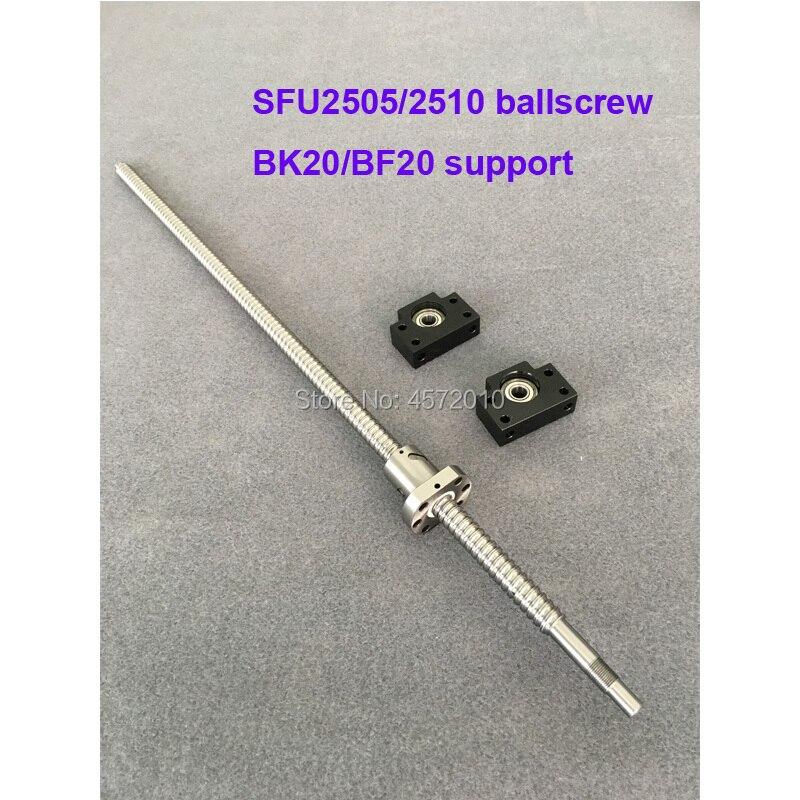 SFU2505 RM2510 Ballscrew 750 800 850 900 1000 mm with end machined + Ballnut + BK20 BF20 End support for CNC partsSFU2505 RM2510 Ballscrew 750 800 850 900 1000 mm with end machined + Ballnut + BK20 BF20 End support for CNC parts