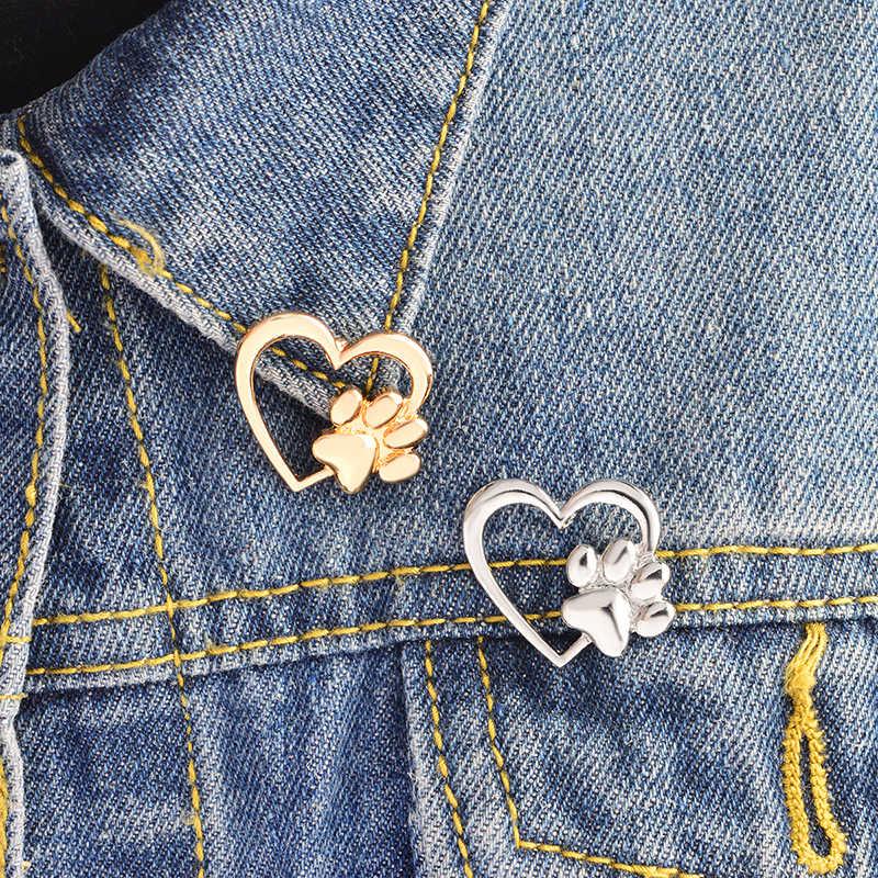 Miss Zoe pata en el corazón broche perro patas gato pata de gatito pines oro suéter plateado Pin regalo de insignia de la joyería para las mujeres chica niños