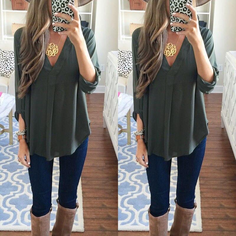 Shirt Tops 2017 Vêtements Casual Manches De Blouse Mode Femmes Lâche À Longues USqzU87w