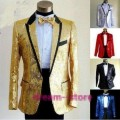 New Mens Boys Bling Sequins Tuxedo Suit Gangnam Style Jacket one button wedding Coat Size M L XL Chaqueta JAQUETA