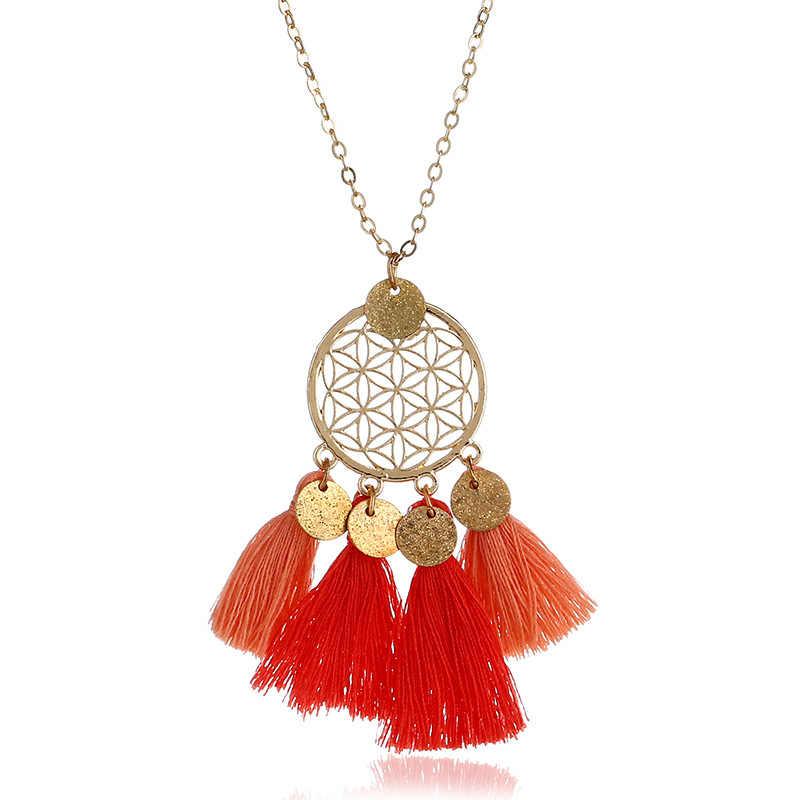 Qtian Tassel Pendant Necklace Women Necklaces & Pendants Choker Long Vintage Ethnic Bohemian Necklace 2019 Fashion Jewelry