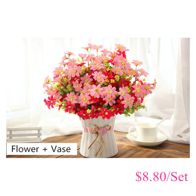 One Set Small Daisy Artificial Flower Silk Sunflower With Rattan Vase  Decoration For Home Room Table 13 Type