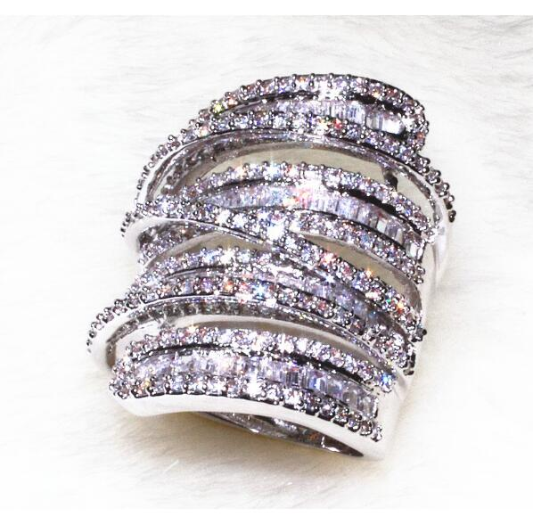 Pave Princess 5A White Zirconia CZ Luxury Jewelry Cool 925 Sterling Silver Hyperbole Women Engagement Band