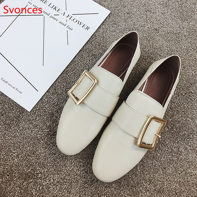 afd31091968 Luxury Designer Buckle Women Flats Square Toe Women Smoking Mules White  Black Female Casual Shoes Genuine Leather Women Loafers