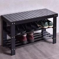 Goplus Multifunction Ottman 3 Tiers Bamboo Shoe Rack Bench Storage Shelf Organizer Entryway Modern Home Furniture