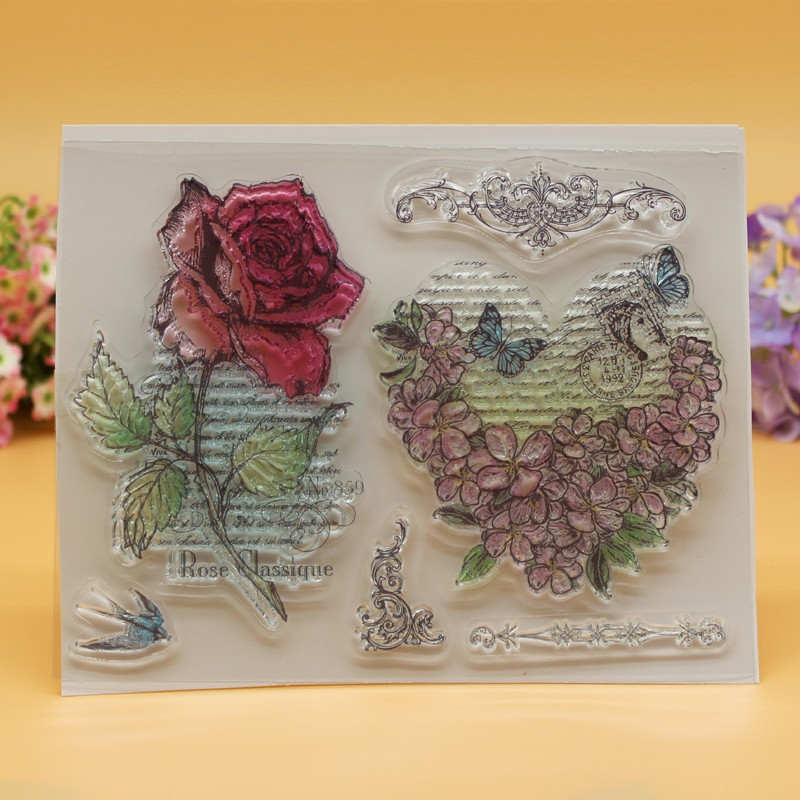 все цены на  YLCS050 rose Silicone clear stamps for Scrapbooking DIY album cards decoration Embossing folder transparent rubber stamp 18*14cm  в интернете