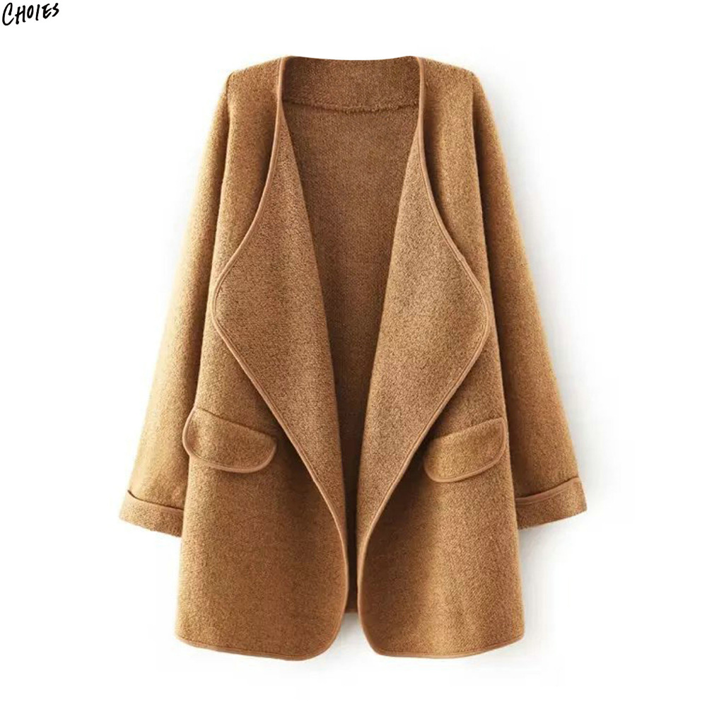 2 Colors Wide Lapel Waterfall Front Chunky Knitted Cardigan Women Long Sleeve Pockets Simple Casual Longline Open Front Sweater