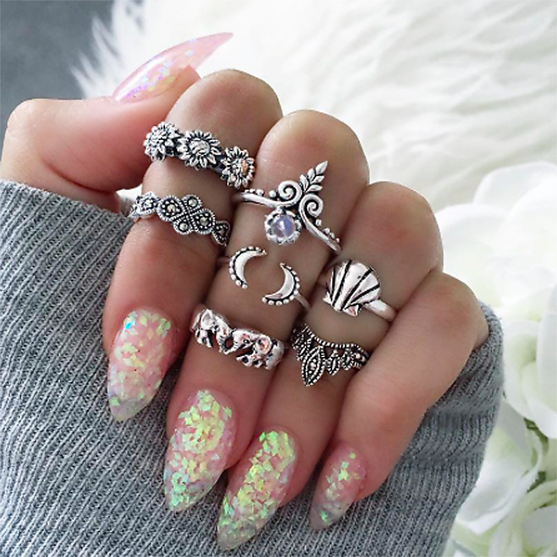 RscvonM Vintage Elephant Hand Ring Sets for Women Man Anillos Antique Turkish Geometric Knuckle Rings Jewellery 7pcs/set