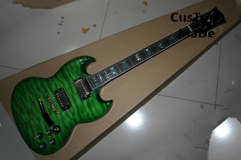 Top Selling Chinese Musical Instrument Green Quilted Maple Finish SG Electric Guitar Kits Lefty Custom Available