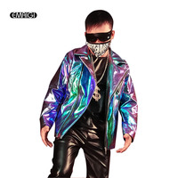 Men fashion Shining Leather Motorcycle Jacket Stage Clothes Male Streetwear Hip Hop Casual Leather Coat Custom Made