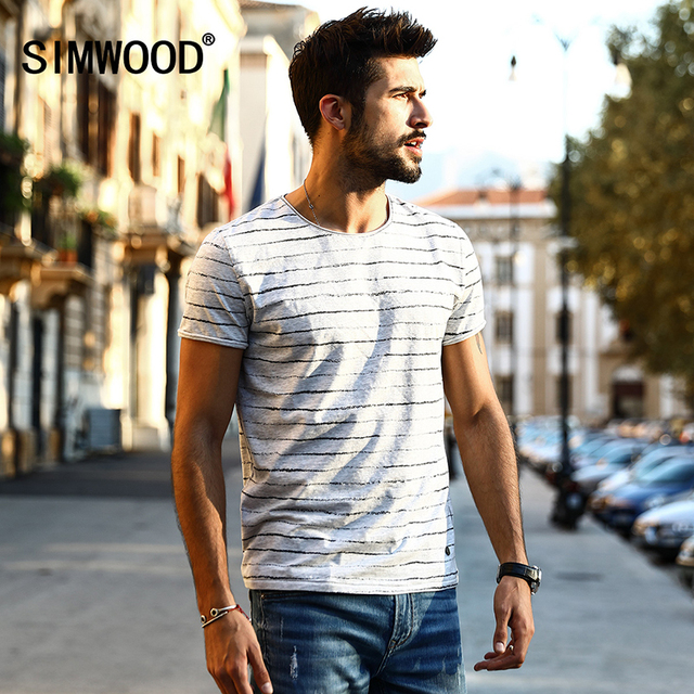43464352bc SIMWOOD 2018 New Arrival Spring Summer Striped T Shirt Men Short sleeve  Fashion Vintage Breton Top Tees TD1133