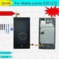 Para nokia lumia 520 display lcd touch screen digitador assembléia completa com moldura do quadro + fita adesiva + ferramentas, frete grátis