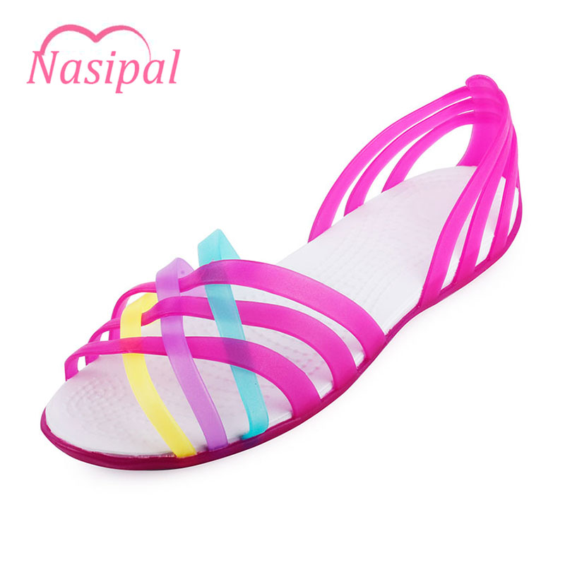 Nasipal Women Sandals 2017 Summer New Candy Color Peep Toe Beach Valentine Rainbow Croc Jelly Shoes Woman Wedges SandalsG832 free shipping candy color jelly sandals new plastic chain beach shoes chain flat bottomed out sandals lace up chains women shoes