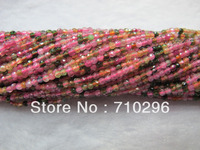 Natural Tourmaline 3mm faceted Seed Gem stone loose beads 5strings/lot15.5inch string