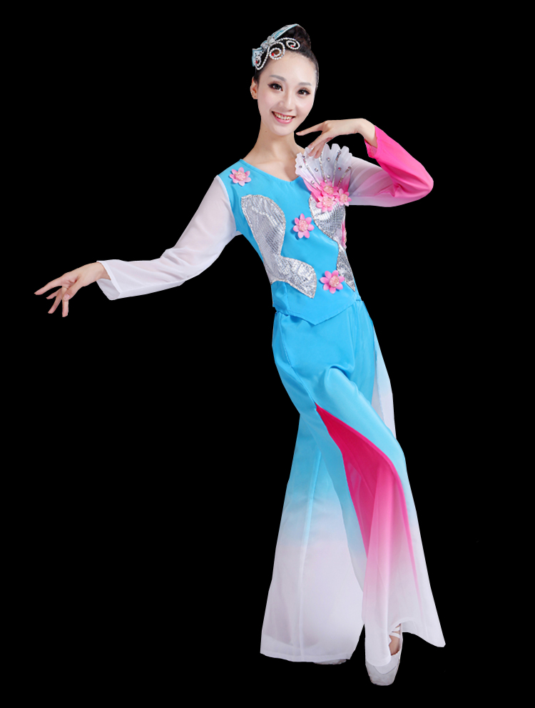 Chinese style Hanfu classical dance costumes female national dance fan dance costume Yangko clothing dance costume in Chinese Folk Dance from Novelty Special Use