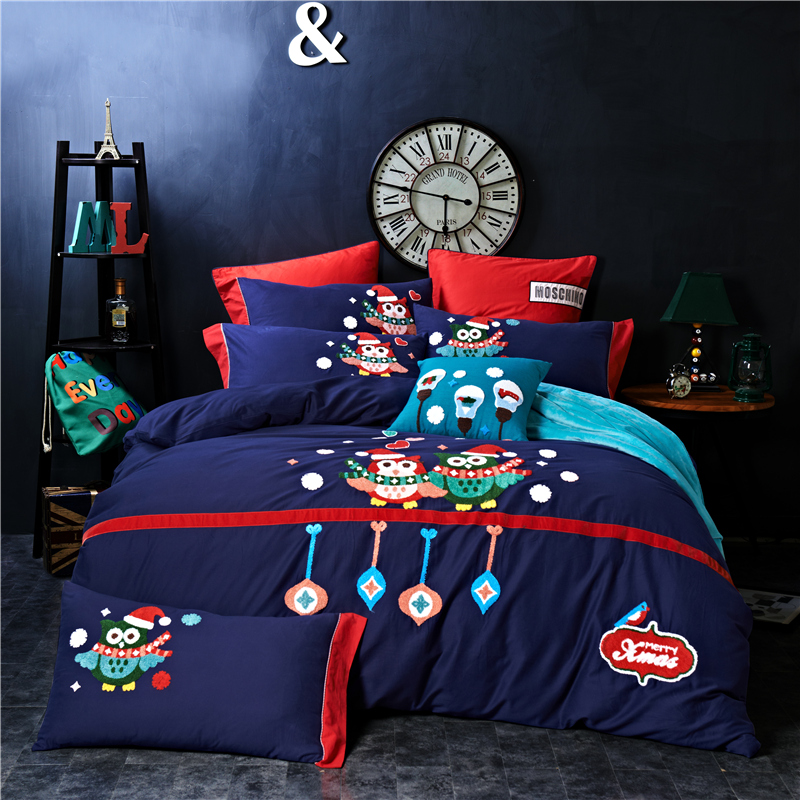 4/5 piezas de algodón de Egipto lijado de dibujos animados búho ropa de cama conjunto de toallas de bordado cálido edredón juego de sábanas fundas de almohada reina rey tamaño