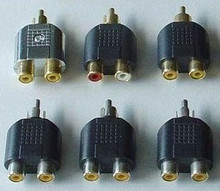 5pcs/lot  lotus AV one point two 1-to-2 RCA one male to two female connectors RCA AV
