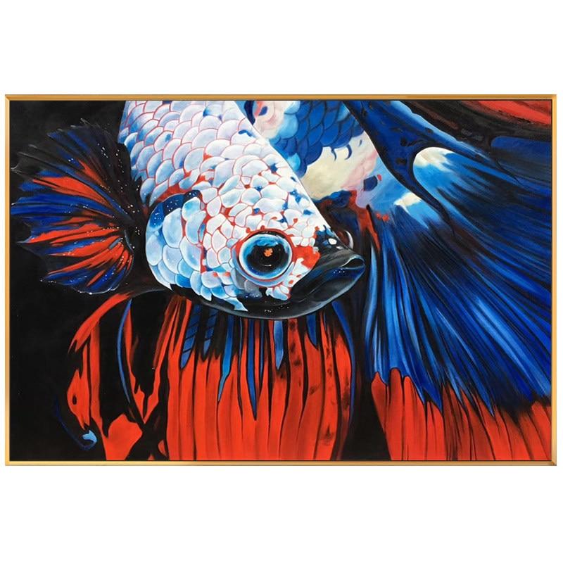 100% handgemalte Moderne Realistische goldfisch Kunst Ölgemälde Auf Leinwand Wand Kunst Wand Bilder Malerei Für Live Room Home decor-in Malerei und Kalligraphie aus Heim und Garten bei  Gruppe 1