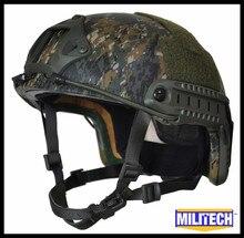 Militech AOR2 Camo RÁPIDA 3A Alta Corte De Kevlar NIJ IIIA Bulletproof Ballistic Casco Táctico MARPAT Arbolado Con 5 Años de Garantía