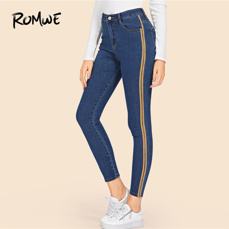ROMWE Stripe Contrast Ankle   Jeans   Blue Denim Pants Women Stretchy Skinny Crop   Jeans   Female Zipper Fly High Waist Trousers