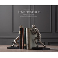 Modern Vintage Art Resin Figurine Gymnastic Men Sculpture Book Holder Home Showpiece Antique Creative Statue Decoration Bookends