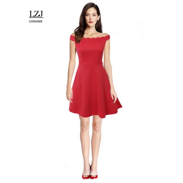 1c71da38d9f LZJ Women 's sexy one - handed sleeveless dress party party A line  skateboard dress plus size 2017 new summer clothing vestidos