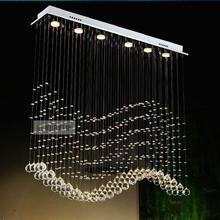 Free shipping Length 600mm 800mm 1000mm sea wave crystal pendant lights bar lights with LED bulbs