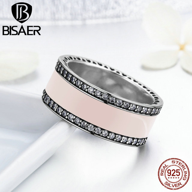 100% 925 Sterling Silver Thick Wide Ring Hearts Of BISAER Pink Enamel & Clear CZ
