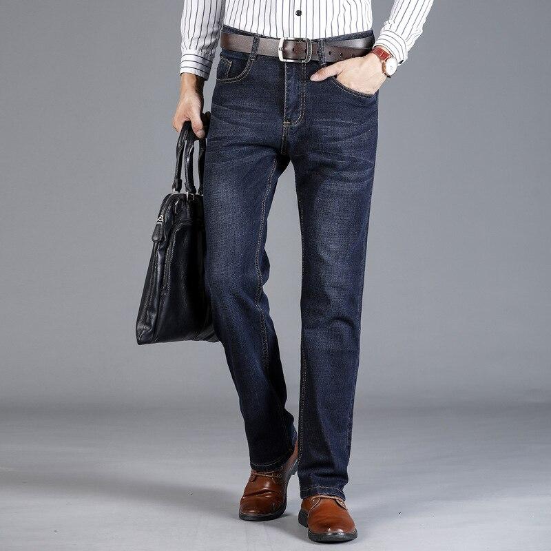 2019 весна осень модные мужские джинсы Европейский Американский бизнес джинсовые брюки повседневные Смарт брюки стрейч классические джинсы