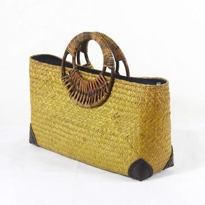 New Handmade Rattan Woven Bag Vatican Holiday Beach Bamboo Handle Handbag Retro