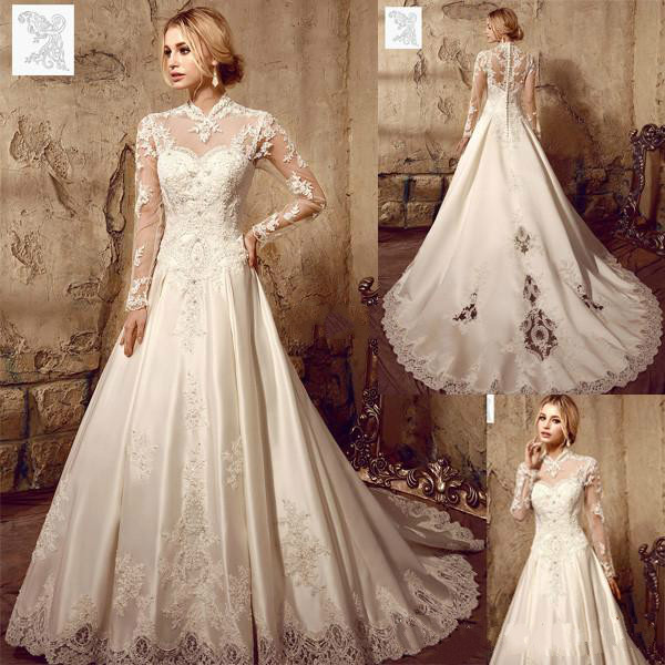 Vintage Designer Illusion Long Sleeve Wedding Dresses