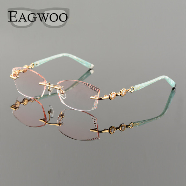 a7e3d5ac1f Titanium Alloy Eyeglasses Women Rimless Prescription Reading Myopia  Progressive Glasses Yellow Spectacle with Color lenses258102
