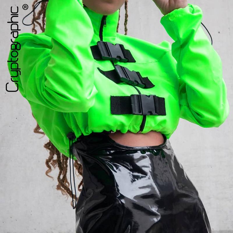 Cryptographic Fashion Buckle Turtleneck Short Women Sweatshirts Casual Solid Long Sleeve Zipper Tops  Winter Female
