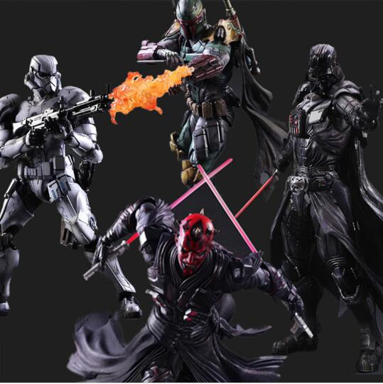 Star Wars Action Figure Play Arts Kai Boba Fett Darth Vader Stormtrooper Maul Model Toy PLAY ARTS Star Wars Playarts Doll halo 5 guardians play arts reform master chief action figure