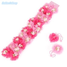 10pcs/lot Fashion Lace Floral Pearl Elastic Hair Bands For Kids Hair Styling Ponytail Holders Hair Ropes Girls Hair Accessories